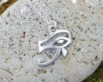 Eye of Horus amulet necklace - pewter Egyptian protection charm on sterling silver delicate chain - free shipping USA