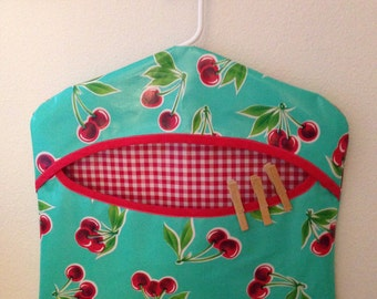 Beth's Oilcloth Hanging Clothespin Holder Storage Receptacle