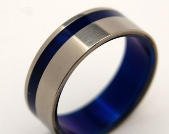 Titanium Wedding Ring, Titanium ring, Something Blue, Mens Ring, Womens Ring, sapphire ring, engagement ring - TO The WINDS RESIGN
