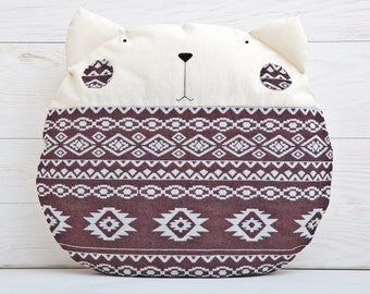 Tribal Pillow, Cat Cushion, Brown Decorative Pillow, Children's Room Decor, Tribal Home Decor, Housewarming Gifts, Cat Lover Gift