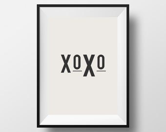 XOXO, Home Décor, Wall Décor, Wall Hangings, Hugs and Kisses, Bedroom, Dorm, Scandinavian Art, Housewares, Hugs, Kisses, Typography