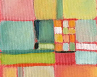Small oil painting, abstract landscape, aerial view, modern landscape, square wall art series by Paula Prass. Contemporary fine art print