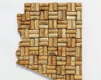 Arizona state art - wine gifts - AZ state art - Arizona wall art - wine cork art - cork art - state art - wine cork state - wine decor