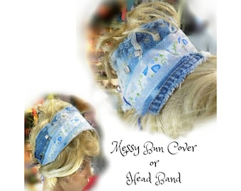 messy mom bun , women's messy headband , Boho headband , hair accessories  women , hair fashion , wide headband ,   # 131