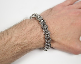 Crow Chain Bracelet, Chainmaille Bracelet, Stainless Steel, Chainmail Bracelet, Chain Maille Bracelet, Chain Mail, Mens Bracelet