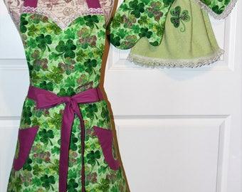 Ladies St Patricks Day Apron Set. Matching Shamrock Apron, towel dress, hot pad, oven mitt.   Buy Each or All.