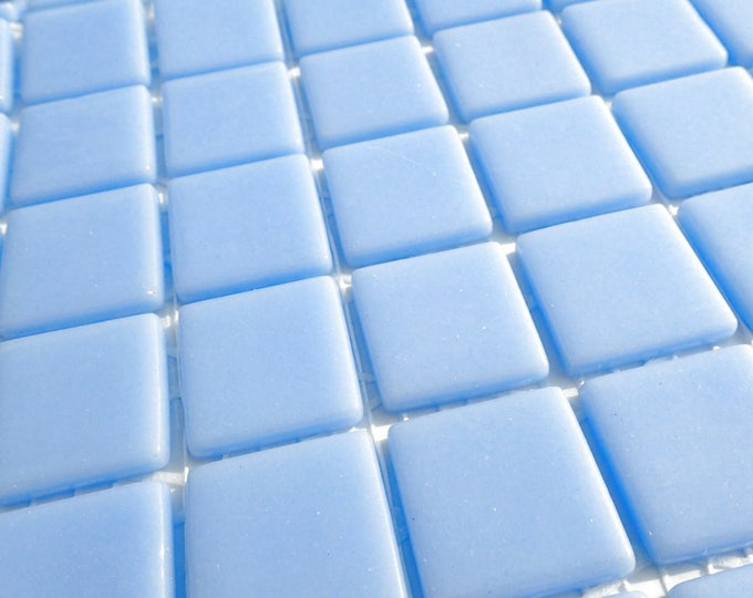 Light Blue Glass Mosaic Tiles Squares - 1 inch - 25 Tiles for Craft Projects and Decorations - Powder Blue Recycled