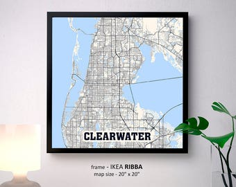 Clearwater Florida Map Print, Clearwater Square Map Poster, Clearwater Wall Art, Clearwater gift, Custom Personalized map