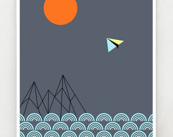 Reaching for the moon, print