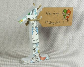 Hand painted Peter Rabbit Number One, these make great Cake Toppers for 1st Birthdays + Free Date Tag!