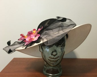 Custom Black and White Derby Hat with Orchids