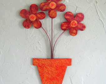 Metal art wall sculpture flower pot recycled metal home decor red orange 9 x 14