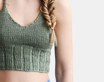 Knit Halter Top in Light Olive, Knit Bralette Top, Pastel Green Top, Crop Yoga Top, Beach Tank Top, Hand Knit Crop Top