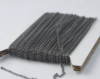 Gunmetal Chain Bulk Chain, 10 ft of Tiny Round SOLDERED Chain Cable Chain 1.6x1.4mm- Free Adequate Jump Rings 50pcs Necklace Wholesale Chain