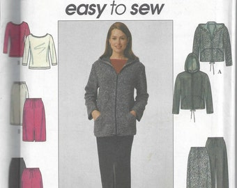Simplicity 8798 Easy To Sew Pattern to Make a Knit Jacket, Top, Pants, and Skirt in Misses' Sizes 6 8 10 12, Uncut