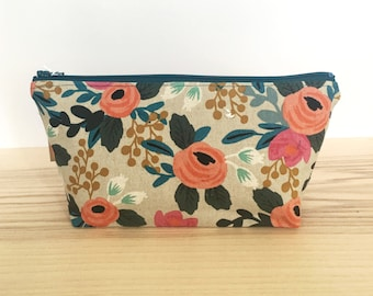Floral cosmetic pouch, Rifle Paper Co pouch, fabric pencil case, canvas bag, travel bag, cosmetic bag, bridesmaid gift, mother's day,