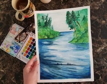 watercolor lake Original