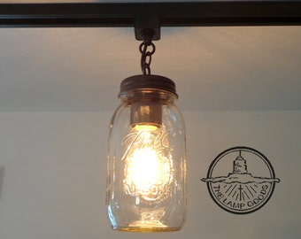 Mason jar lighting etsy mason jar lighting track single one new quart pendant chandelier fixture for kitchen by lamp workwithnaturefo