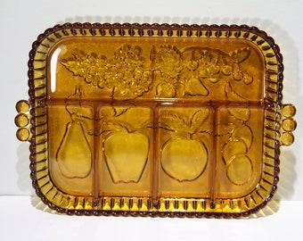 Indiana Glass Amber Divided Dish/Tray