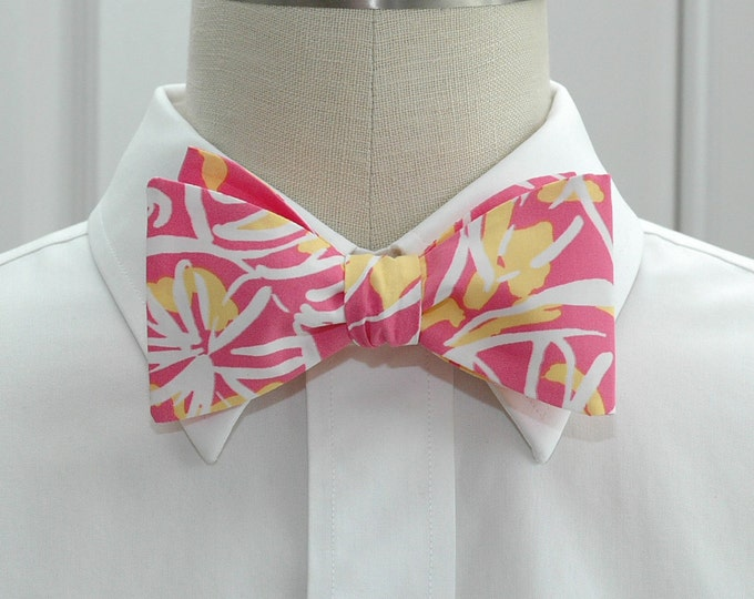 Men's Bow Tie, Fruity pink/yellow/white Lilly floral print, pink yellow bow tie, wedding bow tie, groom bow tie, prom bow tie, tux accessory