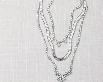 Triple Strand Rhinestone Necklace Handcrafted Chandelier Bib Necklace 7HH