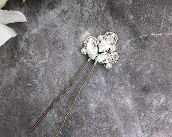 Swarovski Crystal Wedding Hair Pin Bridal Hair Pin Crystal Diamante Ivory Pearl Accessory (Florence Hair Pin Small)