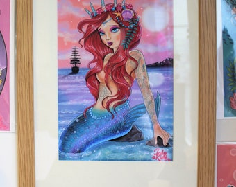 Framed tattooed mermaid print, mermaid art, mermaid gift, wall decor, tattoo art, kids bedroom decor