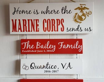Home is where the Marine Corps sends us/you/me, *Alternating white and red boards, US Marines, Marine Corps Family, Patriotic Wall Décor,