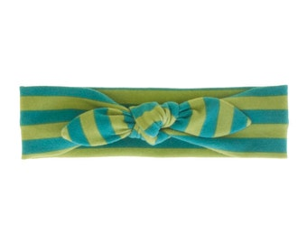 Baby Headband, Toddler Headband, Adult Headband, Baby Girl Headband, Top Knot Headband, Bow Headband, Stripe Headband, Lime and Teal Stripe