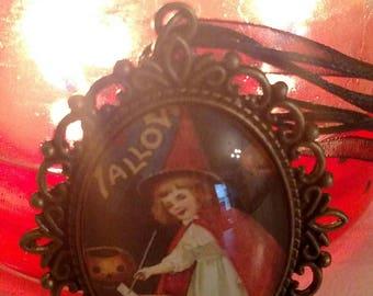 Little Vintage Witch With Her Pumpkin Cauldron Necklace