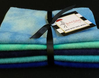 Hand Dyed Wool Ocean Shores Blue 5 Pc Bundle for Applique Quilting or Rug Hooking