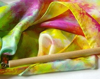 Play Silk Wand : Twirligig 'Heart of the Rainbow' (Playsilk Streamer Wand) Waldorf Inspired Outdoor Toy