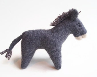 Stuffed toy donkey, waldorf donkey, child's toy, barnyard animal, wool felt toy, waldorf toy, stuffed animal