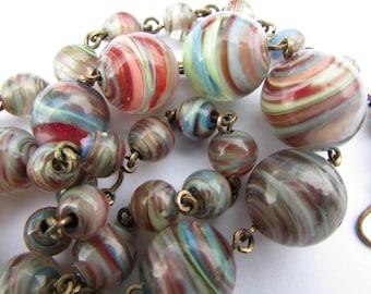 Art Deco Bohemian Rainbow Swirl Glass Beads Necklace