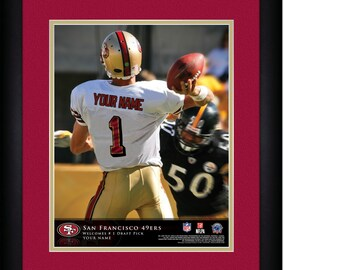 NFL San Francisco 49ers Personalized Matted and Framed Quarterback Hero Print 15x18