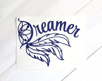 DIY Dreamer Vinyl Decal Dream Catcher & Feathers, Choose Color, Choose Size, Laptop Decal, Tablet Decal, Drinkware Decal, Car Window Decal