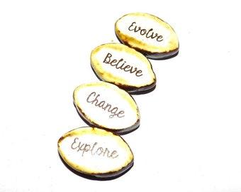 Ceramic Word Bead Set Beads Handmade Aspiration Message Beads