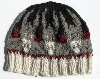 Knitted Winter Beanie, Fair Isle Alpaca Wool Hat, Donkey Hat for Men and Women