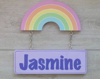 Door sign, Rainbow decor, Kids room sign, Custom name sign, Kids name sign - rainbow nursery decor