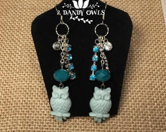 Turquoise Owl Dangle Drop Earrings