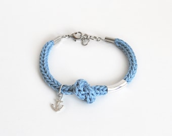 Blue anchor bracelet, nautical bracelet with knot, knit rope bracelet, hope and stability, gift for friend