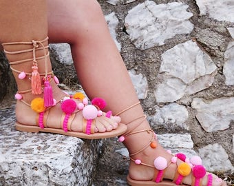 """Pom Pom """"Sunset"""" Sandals/Lace Tie up Boho Stripes Charms Colorful Sandals/Genuine Leather/Natural Leather/Gladiator Strap"""