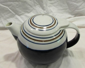 Teapot, Blue and White, Blue and Brown Concentric Rings, Vented Flat Lid, 1970's or 1980's