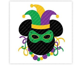Disney, Mardi Gras, Icon Minnie Mouse, Icon Mickey Mouse Head, Mouse Ears, Digital, Download, TShirt, Cut File, SVG, Iron on, Transfer