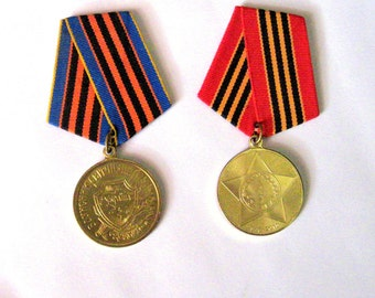 "set of 2 military  medals ... The ""Defender of the Motherland"" Medal Ukraine   ,  medal military medal 65  years of Victory in World War II,"