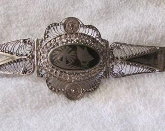 Niello Filigree Sterling Silver Bracelet