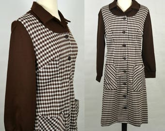 1960s Brown and White Checkered Gingham Dress by Channel 1 Bill Sims