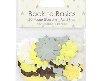 Maxi set 30 blooms collection paper mulberry flowers baby steps gray yellow white Brown