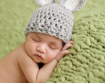 Newborn Bunny Hat, Newborn Photo Prop, Newborn Easter, Baby Bunny Hat, Infant Bunny Hat, Newborn Neutral Hat, Crochet Baby Hat, Rabbit Hat