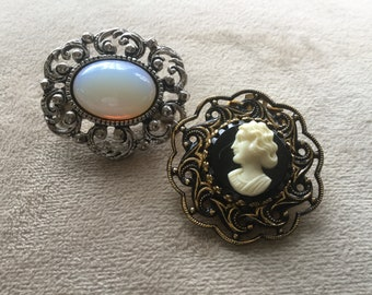 Vintage cameo scarf clip, dress clip with gold tone, faux black onyx back and a faux opal brooch